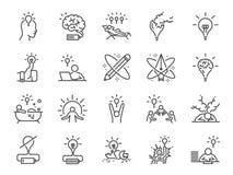 De reeks van het creativiteitpictogram Inbegrepen pictogrammen als Inspiratie, idee, hersenen, innovatie, verbeelding en meer Royalty-vrije Stock Afbeeldingen