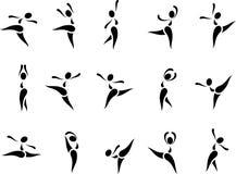 De Reeks van het danspictogram Stock Foto's