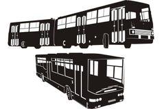 De reeks van het de bussilhouet van de stad Stock Afbeelding