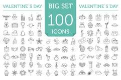 De reeks van het de dagpictogram van Valentine ` s Romantische ontwerpelementen op w Stock Foto