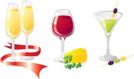 De reeks van het de drankenpictogram van de alcohol Stock Afbeelding