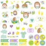 De Reeks van het de Egelplakboek van de babyjongen Vectorscrapbooking Decoratieve Elementen Stock Foto's