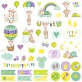 De Reeks van het de Girafplakboek van de babyjongen Royalty-vrije Stock Afbeelding