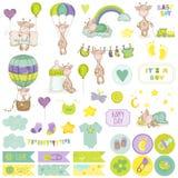 De Reeks van het de Girafplakboek van de babyjongen Decoratieve Elementen Royalty-vrije Stock Afbeeldingen