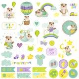 De Reeks van het de Hondplakboek van de babyjongen Decoratieve Elementen Royalty-vrije Stock Afbeelding