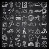 de reeks van het de krabbelpictogram van de 49 handtekening, reisthema  vector illustratie
