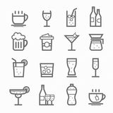 De reeks van het de lijnpictogram van het dranksymbool Stock Afbeeldingen