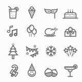 De reeks van het de lijnpictogram van het partijsymbool Royalty-vrije Stock Foto's
