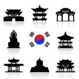 De Reeks van het de Reispictogram van Korea Royalty-vrije Stock Fotografie