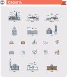 De reeks van het de reispictogram van Kroatië vector illustratie