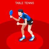 De Reeks van het de Spelenpictogram van de pingpongzomer 3D Isometrische Ping Pong Athlete Sportieve Kampioenschaps International Stock Foto