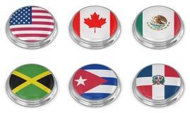 De reeks van het de vlagpictogram van de natie Stock Foto