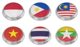 De reeks van het de vlagpictogram van de natie Stock Fotografie