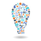 De Reeks van het de Vormpictogram van ideelightbulb Royalty-vrije Stock Foto's