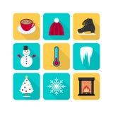 De reeks van het de winterpictogram Stock Afbeeldingen