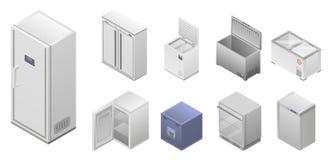 De reeks van het diepvriezerpictogram, isometrische stijl royalty-vrije illustratie