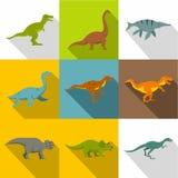De reeks van het dinosauruspictogram, vlakke stijl Royalty-vrije Stock Foto