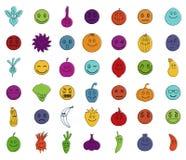 De reeks van het Emojipictogram, de stijl van het kleurenoverzicht Stock Foto