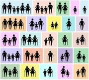 De reeks van het familiepictogram Stock Foto's