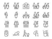 De reeks van het familiepictogram Inbegrepen pictogrammen als mensen, ouders, huis, kind, kinderen, huisdier en meer Stock Afbeeldingen