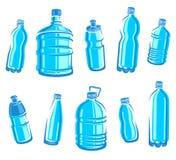 De reeks van het flessenwater. Vector royalty-vrije illustratie