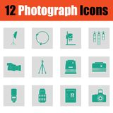 De reeks van het fotografiepictogram Stock Foto