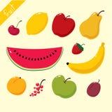 De reeks van het fruitpictogram Stock Foto