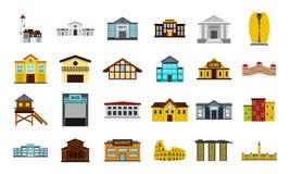 De reeks van het gebouwenpictogram, vlakke stijl Royalty-vrije Stock Fotografie