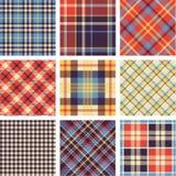 De reeks van het geruite Schotse wollen stof stock illustratie