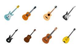 De reeks van het gitaarpictogram, vlakke stijl Royalty-vrije Stock Fotografie
