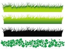 De reeks van het gras en klaverreeks Royalty-vrije Stock Afbeeldingen