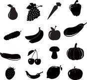 De reeks van het groenten froot pictogram, vector Royalty-vrije Stock Afbeelding
