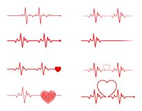 De reeks van het hartritme, Elektrocardiogram, ECG - electrocardiogramsignaal, Hart Bea royalty-vrije illustratie