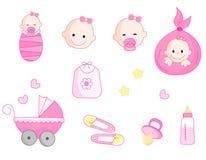 De reeks van het het meisjespictogram van de baby Stock Afbeeldingen