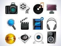 De reeks van het het Webpictogram van media Stock Foto's