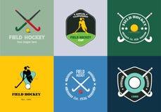 De reeks van het hockeyembleem Vectorsportkentekens met vrouwensilhouet, stok en hockeybal Stock Fotografie