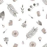 De reeks van het het huisdecor van de patroonwaterverf Decoratiedetails stock illustratie