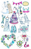 De reeks van het huwelijk leuke betoverende krabbels Stock Foto's