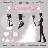 De reeks van het huwelijksdecor retro Vlakke silhouetbruid, bruidegom Stock Afbeeldingen