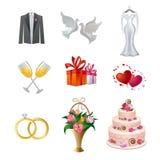De reeks van het huwelijkspictogram Royalty-vrije Stock Foto