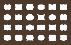 De reeks van het kaderetiket Lege kaders decoratieve vormen, retro etiketten Elegante stickerdecoratie, document markeringen Naad stock illustratie