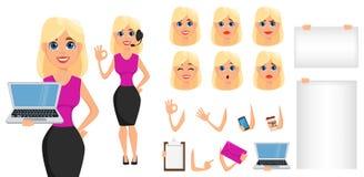 De reeks van de het karakterverwezenlijking van het bedrijfsvrouwenbeeldverhaal Leuke blondebusin stock illustratie