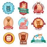 De reeks van het kattenembleem Stock Afbeeldingen