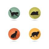 De reeks van het kattenpictogram Het silhouet van het huisdierenpictogram Stock Foto