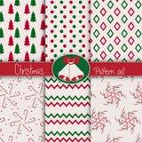 De reeks van het Kerstmispatroon Stock Foto's