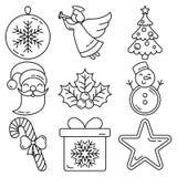 De reeks van het Kerstmispictogram vector illustratie