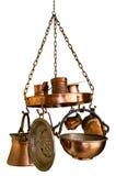 De Reeks van het Keukengerei van het brons die op Wit wordt geïsoleerd Stock Fotografie