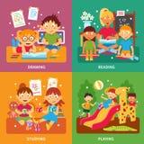 De reeks van het kleuterschoolconcept Stock Afbeeldingen