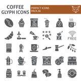 De reeks van het koffie glyph pictogram, de inzameling van koffiesymbolen, vectorschetsen, embleemillustraties, cafeïne onderteke stock illustratie