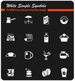 De reeks van het koffiepictogram stock afbeeldingen